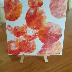 Abstract Tangerine (1) Original 19 cms square on easel