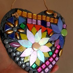 Mosaic sun catcher 15cms. This decorated slate heart will enhance anyone's garden.