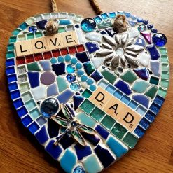 Large (20cms)Father's day mosaic  on slate heart suncatcher. Dad gift