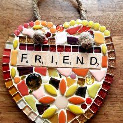 FRIEND mosaic 15cms slate heart.