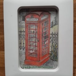 Back in the day. Old phone box. Framed art on a postcard. Original
