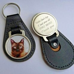 Personalised Burmese Cat keyring with free engraving and free post to UK