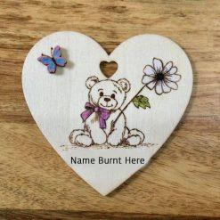 Wooden Heart Name Plaque Hand Burnt