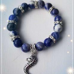 10mm Sodalite Gemstones with Charm Elastic Bracelet