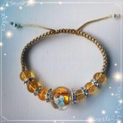 Citrine and Floral Glass Bead Adjustable Braided Bracelet