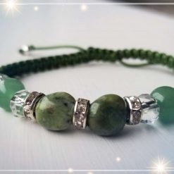 Opal with Green Aventurine braided bracelet