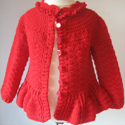 Red Designer Cardigan by SerendipityGDDs, Springtime, For Age 3