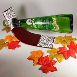 Fused Glass Red & White Bottle Holder