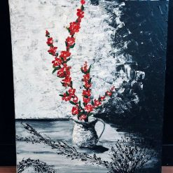 Handmade Acrylic Painting Wall Picture 50*60cm Red In The Shadow
