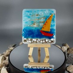 3D Glass Seaside Tile with Stand #1
