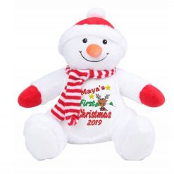Mumbles Zippie - Snowman Teddy Bear First Christmas Personalised Embroidered Reindeer Design