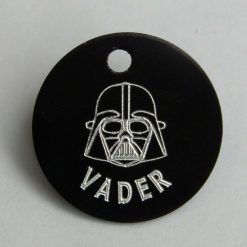 Dog or Cat Id tag with Vader on the front your info on the back Star wars style