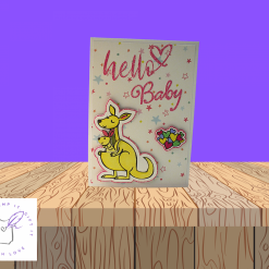 """""""Hello Baby"""" white A6 card for new baby - colour choices are available for the sentiment"""