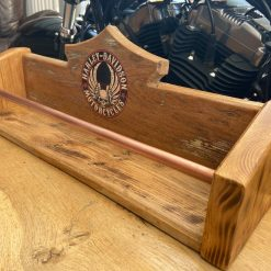 Drinks rack, homebar, winerack, mug rack, solid oak , harley davidson themed, vintage patina, reclaimed oak