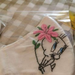 Face mask - Tweety Bird handmade embrodery