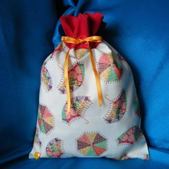 Reusable fabric gift bag (red umbrellas)