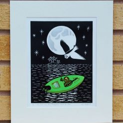 The Owl and the Pussycat went to Sea - Original Lino Print (Lear) by Sarah's Printing  [sarahs printing]