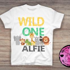 Personalised Birthday 1st Birthday T-Shirts, animals, two, wild, safari, one