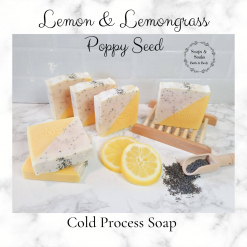 Handmade Artisan Lemon Lemongrass and Poppy seed cold process soap , Free postage uk ,Cruelty free ,Artisan Soap ,vegan friendly ,Luxury skincare ,bathandbeauty ,essential oils ,soap,Gift