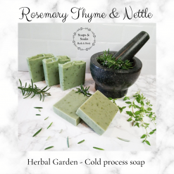 Handmade Artisan Rosemary Thyme and Nettle cold process soap ,Artisan Soap ,Herbal soaps, free postage uk ,vegan friendly ,cruelty free ,luxury skincare ,handmade soaps ,gifts ,CPSR