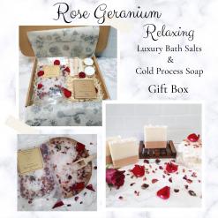 Rose geranium cold process soap and botanical bath salt gift box, free postage uk ,Bathandbeauty ,luxury skincare ,Artisan Soap ,bath salts ,cruelty free ,vegan friendly ,Luxury skincare ,Bath treat ,gift ideas ,gift set