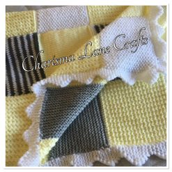 Hand Knitted Yellow And Grey Patchwork Blanket