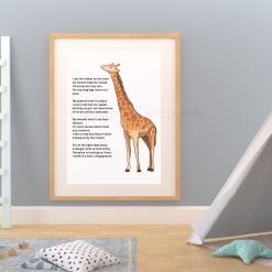 Giraffe Poem Art for Nursery Child's room Original Exclusive A4 Digital Download