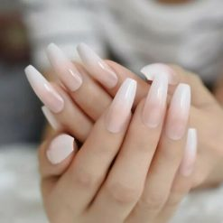 Glossy nude long coffin ballerina press on fake false nails french ombre nails