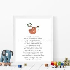 Sloth Poem Art for Nursery Child's room Original Exclusive A4 Digital Download