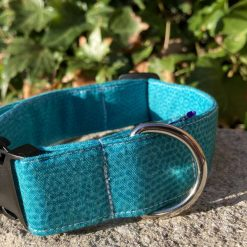 "Dog collar, Dog Collars, Puppy Collars size SMALL 11""-14"" x"" 1""wide teal pattern"