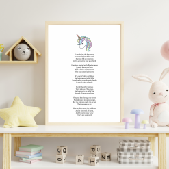 Unicorn Poem Art for Nursery Child's room Original Exclusive A4 Digital Download