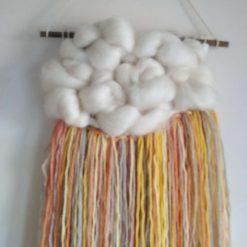 Woven Merino Wool Sunshine Cloud Wall Hanging, Nursery Decor