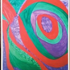 GREEN, RED AND PURPLE PAINTING. A4 UNFRAMED PRINT + POEM. ORIGINAL ART DIRECT