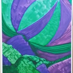 GREEN AND PURPLE PAINTING – A4 UNFRAMED PRINT OF MY ORIGINAL PAINTING + POEM. ORIGINAL ART DIRECT