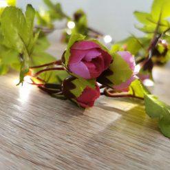 Pink flower and green leaf fairy string lights garland 2M