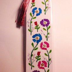 Hand Painted Laminated Floral Bookmark