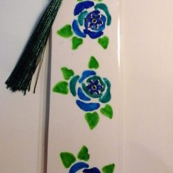 Hand Painted Roses Bookmark - Blue 1