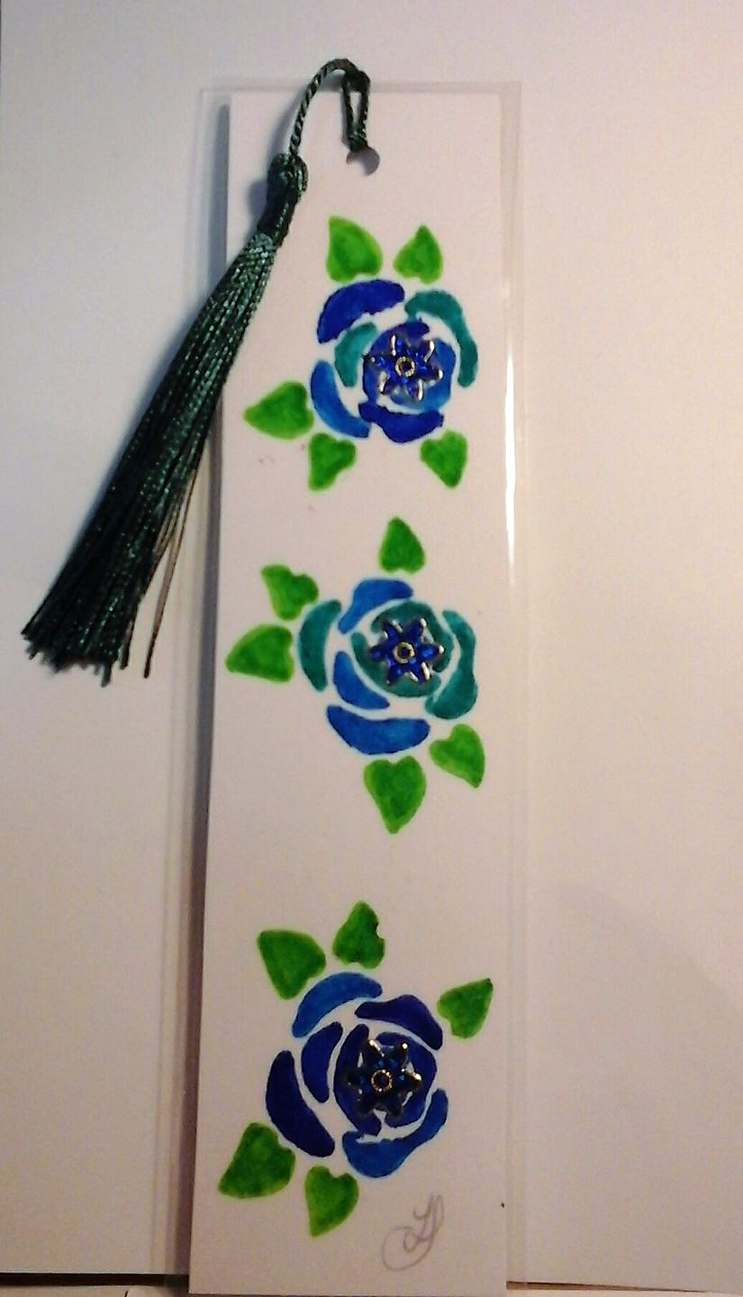 Hand Painted Roses Bookmark - Blue