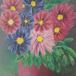 Cosmos flowers, oil painting on stretched canvas, 61 x46,5 cm