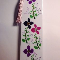 Hand Painted Embellished Laminated Floral Bookmark (b)