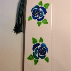 Hand Painted Roses Bookmark - Blue 2