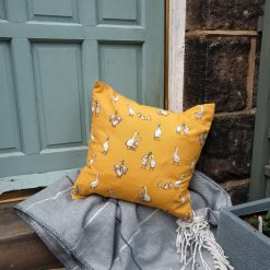 """Rustic Duck and Goose Double Sided Print. Duck Feather Cushion. 20"""" x 20"""" Square Cushion Cover"""