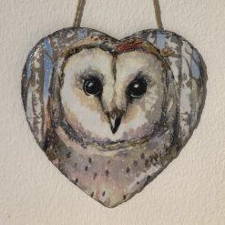Owl slate heart