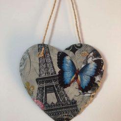 Eiffel Tower and butterfly slate heart