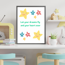 Nursery Child's room Star 'Let our dreams fly' Art Quote Original A4 Digital Download