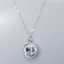Crystal round stone rivoli sterling silver necklace
