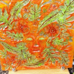 Orange Lady in the Woods Glass Display Piece in Stand