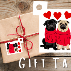 Pug Dog Gift Tags   Dog Illustration   Present Tags   Dog Themed Gift   Parcel Tags