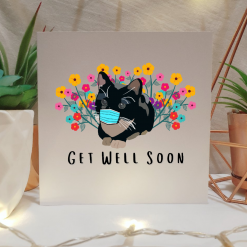 Tuxedo Cat Get Well Soon Card | Illustrated Cards | Cute Cat Design | Get Better Soon