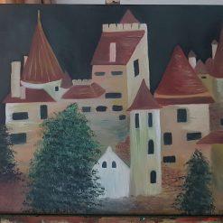 """Bran Castle"", original oil painting on back canvas, 61×46,5 cm"